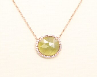 3.55CT Natural Yellow Sapphire Necklace/Sapphire Diamond Necklace for Women/14k Rose Gold Necklace/Women's Natural Yellow Sapphire Necklace