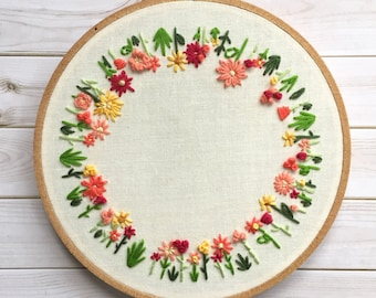 Round Floral Embroidery Hoop Art. Mothers day gift. Hoop Art. Floral Wall Art. Housewarming gift. Home Decor. Floral Embroidery Wall Hanging