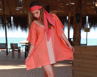 KALA Trendy swimsuit coverup | Boho style mini dress | Wrinkled pure cotton | Trendy beach coverup | Airy mini dress |