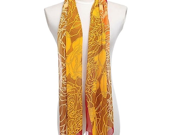Womens Scarf, Brown Scarf,  Floral Print Scarf, Fashion Scarf, Chiffon Scarf, Voile Scarf, Cotton Scarf, Womans Scarf