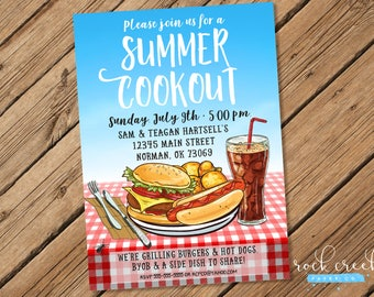 Summer Barbecue Invitation, Summer Cookout Invitation, Backyard BBQ, Barbecue Party Invitation, Printable Party Invitation