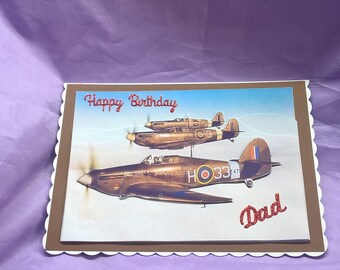 vintage aircraft dad birthday card with glittery lettering,can be made with any name or family member added if you ask
