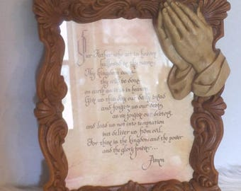 Vintage Lord's Prayer ~ in ornate frame ~ Praying hands ~ Gift ~ Religious