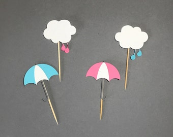 Rainy Shower Cupcake Toppers / Cloud Cupcake Topper / Umbrella Cupcake Topper/Baby shower Decorations / Gender Reveal / Rainy Birthday Party