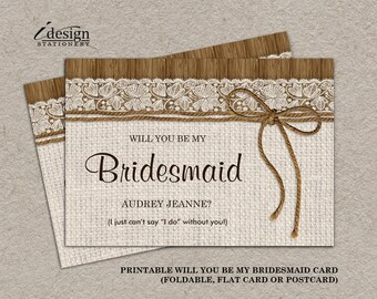 Navy and coral will you be my bridesmaid invitation card diy rustic will you be my bridesmaid invitation card diy printable burlap and lace bridal party stopboris Choice Image