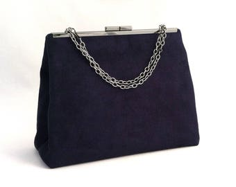 Navy Blue Suede Handbag ~ Navy Purse