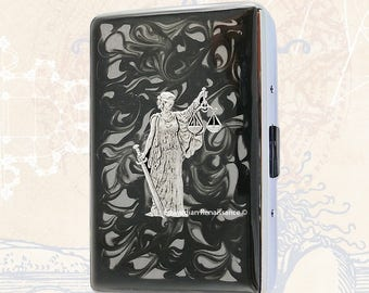 Libra Metal Cigarette Case Inlaid in Hand Painted Enamel Zodiac Inspired Metal Wallet Engraved and Personalized Options