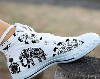 Ethnic Elephant Women's High Top Sneakers  -White Version