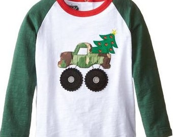 SALE  Boys Personalized Truck Christmas Tree Applique Baseball Shirt- Christmas Shirt - Monster Truck- Mudpie