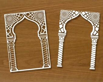 Cadre sculpté style arabe numérique pochoirs invitation fichiers Eps Dxf Ai Png silhouette coupe vecteur décor couverture cadre carte postale photo
