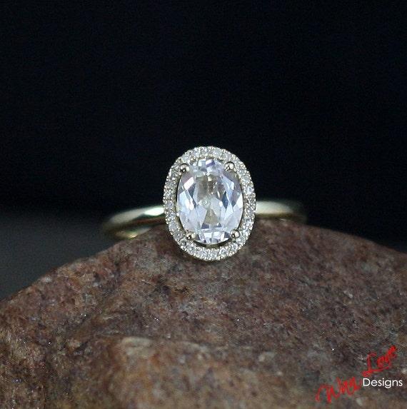 White Topaz Amp Diamond Oval Halo Engagement Ring Plain Band 2ct