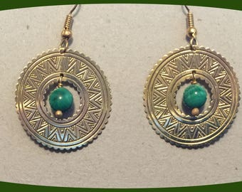 14 Karat Yellow Gold Sun Burst Shield with Malachite Beads French Wires Shipped Priority Mail no charge