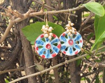 Sicilian Jewelry - Hand-painted Caltagirone ceramic cartridge pendant earrings