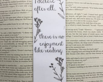 Pride and Prejudice Quote Bookmark | Jane Austen Inspired; I declare after all there is no enjoyment like reading