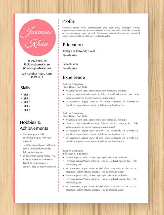 cv resume modern pink jasmine template instant word document