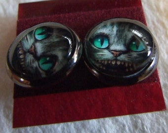 Cheshire cat  12 mm Post Earrings  Were all mad here
