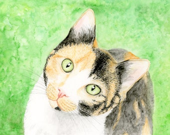 Calico Cat Painting, Calico Cat Print, Calico Cat Watercolor Painting Calico Cat Gift for Cat Lover, Calico Cat Picture Calico Cat Art Print