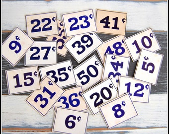 Assortment of Vintage Price Tags - (20) General Store Price Cards - Store Pricing - Vintage Price