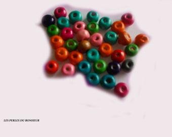 Set of 50 mixed wood beads