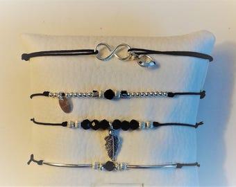Black beads and sterling silver slide bracelet