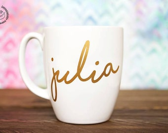 13 oz Custom Mug - Personalized Coffee Mug - Coffee Mug -Gold VINYL lettering