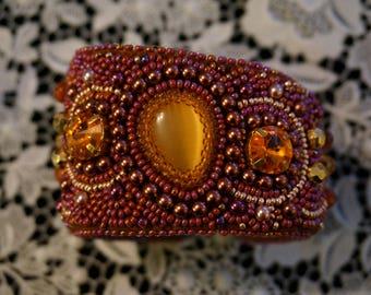 The bead embroidered cuff Mango by La Bonna