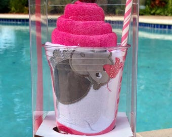 Happy Hippo-Hooded Bath Towel Milkshake