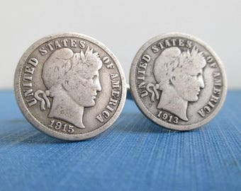 Barber Dime Cuff Links - Natural Patina, Nice Condition, Repurposed Vintage 900 Silver USA Coins