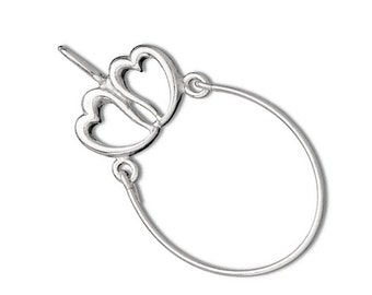 Sterling Silver Two Heart Charm Holder Pendant