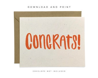 NEW | Printable Congrats Card, Hand-lettered Card, Congratulations Card