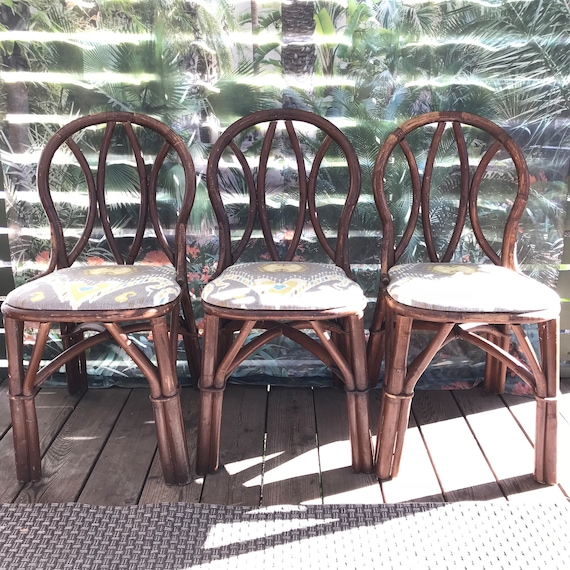 vintage bentwood rattan dining chairs - bamboo Asian chinoiserie boho - SET OF 4 - Local Portland Metro Pickup or Delivery Only