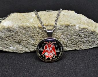 Pentagram pendant avete omnes satanam, round pentacle pendant Satan, devil pendant occult, esoteric pendant demoniacal, satanic Jewelry,