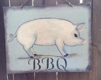 Bbq rustic pig plaque