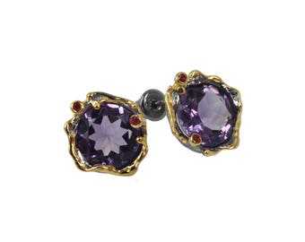 Amethyst and red sapphires studs, Splendid 925 silver designer earrings, 22kt gold, Bridal set, Bridesmaid gift, Gift for her, Thailand made