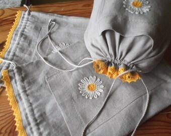 Linen drawstring lingerie bag bridal wedding linen tote gift bag aerobic accessories bag grey linen clothing underwear bag with daisy