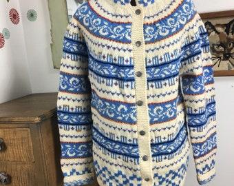 Vintage Fair Isle Sweater, Icelandic Cardigan, Blue and White Intarsia Knit Sweater Sz S-M