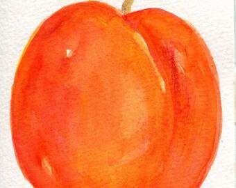 Peach Watercolor Painting original, Fruit art, 4 x 6 peach painting, original watercolor of peaches, small kitchen decor, peach wall art