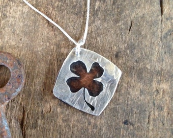 Four Leaf Clover, Silver Shamrock Necklace - St Patricks Day Good Luck Charm, Silhouette Gift for Her on Silver Necklace