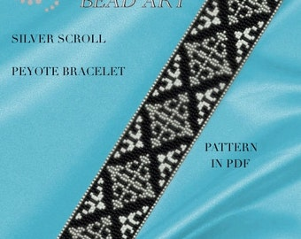 Peyote Pattern for bracelet - Silver scroll peyote bracelet pattern PDF instant download