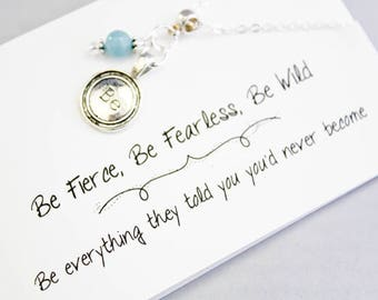 Necklaces for Women - Be Charm Necklace - Fearless Necklace - Dainty Genuine Blue Quartz ladies Necklace SCC881