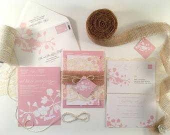 Cherry Blossom Wedding Invitation, Spring Wedding Invitations Rustic Burlap and Lace, Spring Cherry Blossom Flowering Tree Branch Light Pink
