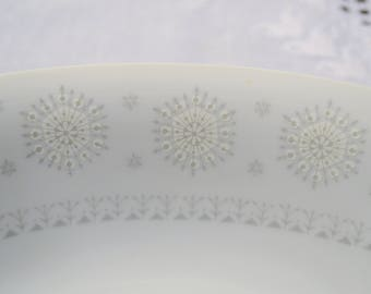 Vintage Harmony House Snowflake Oval Serving Bowl White Gray Mid Century Atomic 3503 Replacement Japan Panchosporch