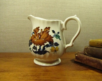 Myott - Swirled Rib Creamer - Brown and Blue Flowers and Leaves  - Made in England