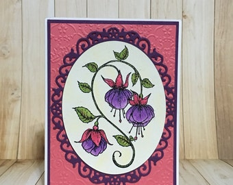 Watercolor card, all occasion card, handmade card, greeting card, pink, fuscia, floral design