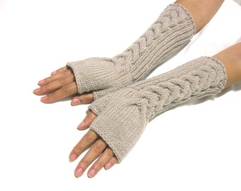 Knit Fingerless gloves | Knitted Fingerless Mittens | Arm Warmers | Hand Warmers | Knit Long  Beige  Fingerless Gloves