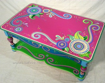 Hand Painted Furniture Custom Made to Order, Custom Painted Furniture, Example of Hand Painted Furniture, Hand Painted Coffee Table
