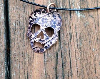 Small Copper Skull Pendant, Hand pierced