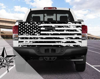 Tattered Flag Tailgate Decal