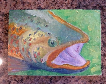 "Trout Fish Original Oil Painting on canvas board 7"" x 5"""