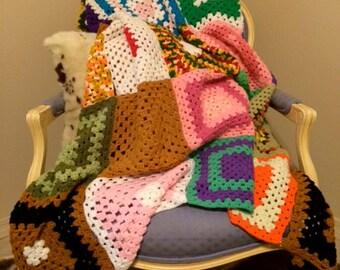 Vintage Multi Color Granny Square Crochet Afghan